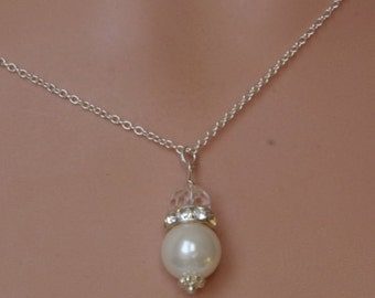 White Drop Pearl Necklace Pearl Pendant Necklace Bridesmaid Pearl Necklace Simple Necklace Christmas gift
