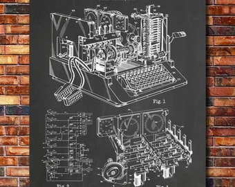 WW2 Encryption Machine Patent Print Art 1944