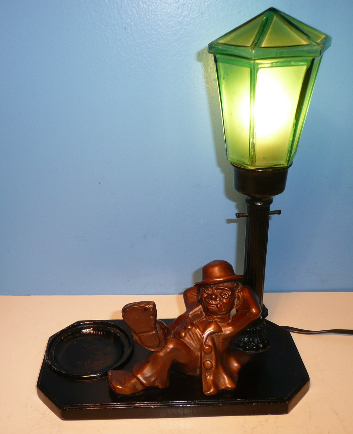 Antique NUART Art Deco Hobo Figural Table Lamp By ItsAllAboutLamps