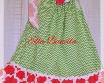 Green and Pink Pillow Case Dress with Matching Headband