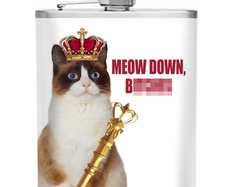 Meow Down, B****s Matte Stainless Steel 6 oz Flask
