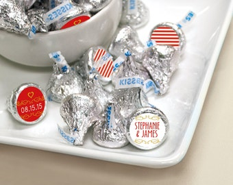 Personalized Stripe Wedding Favor Stickers for HERSHEY'S KISSES Candy - Custom Affordable Ascot Chic Favors for Brides - Choose Your Color