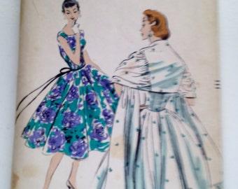 Vogue Vintage # 8874, 1950s, One piece dress, circular skirt, stole, UNCUT, Size 12