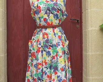 SALE Multicoloured Granny chic Summer Dress french vintage