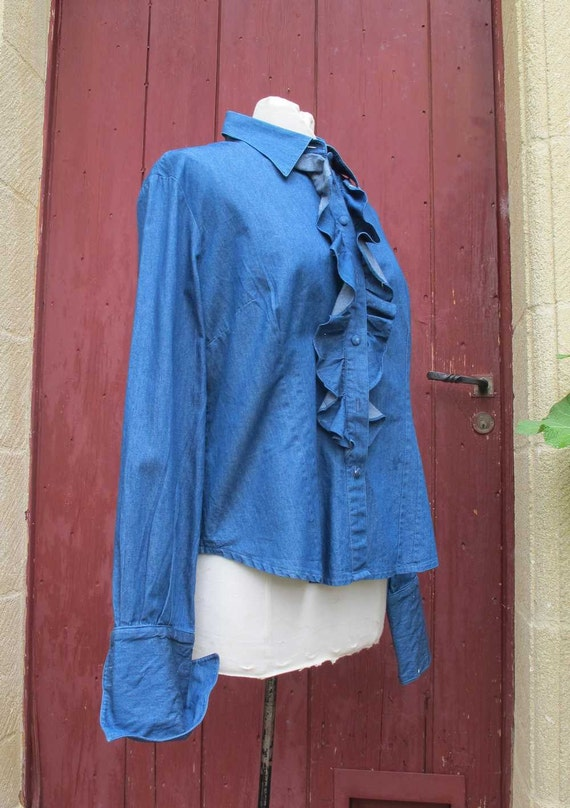 Alain figaret 1970s denim shirt with frill by Yellowtreasure