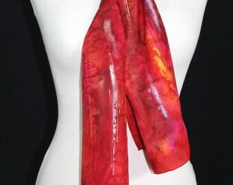 Red Silk Scarf. Crimson Hand Painted Silk Shawl. Orange Handmade Silk Scarf RED CHIC. Size 8x54. Birthday, Bridesmaid Gift. Gift-Wrapped