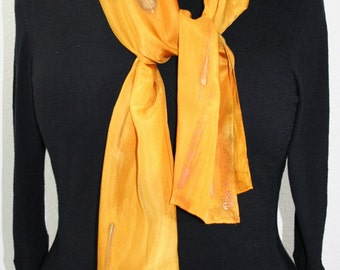 Silk Scarf Handpainted.  Golden Yellow Hand Painted Shawl. Handmade Silk Scarf SHINING GOLD. 8x54. Anniversary, Mother Gift. Gift-Wrapped