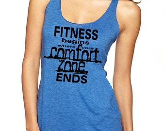 FITNESS BEGINS Racerback Tank Top for Gym, Workouts, Yoga, Fitness. Go Beyond. Next Level Brand Larger Sizes