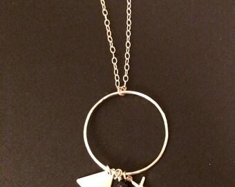 14k gold Triple Charm Necklace