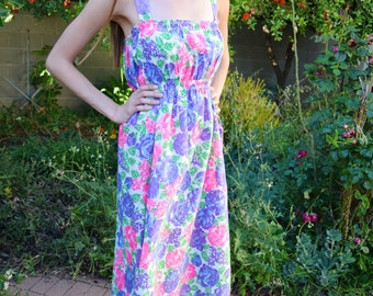 Vintage 1960s Pink and Purple Neon Floral Mod Summer Cotton Lightweight Smocked Spaghetti Strap Flowers Tea Length Darling Day Dress S-M