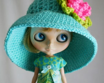 Blythe Doll Hat - Wide Brim Floppy Sunhat - Crochet Hat - Aqua Blue with Bright Pink Flower
