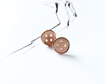 Matte Button Stud Earring 18K Rose Gold Button Earring Special Fun Design Frosted Stud Simple Adorable Everyday Earring Ideal Gift
