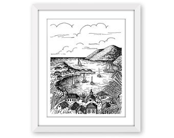 St. Barts Island, Pen and Ink Print, 5x7, 8x10, 11x14, 13x19, Pen and Ink Illustration, Nautical Art, Caribbean, Beach Decor, Line Drawing