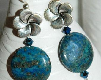 Swarovski Crystal and Semi-precious Blue green Lapis with Franjipani Statement Handmade earrings