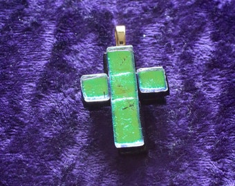 Glass Cross Pendant, Fused Glass Jewelry