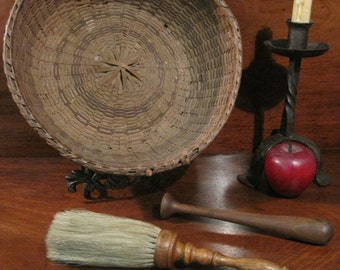 1800s New England Shaker Collection of Black Ash Basket Chore Boys & Brush (NBA-183)