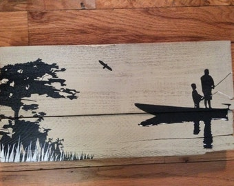 Fishing Dad and Son -  reclaimed wood sign