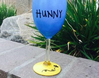 Pooh's Hunny Pot inspired wine glass