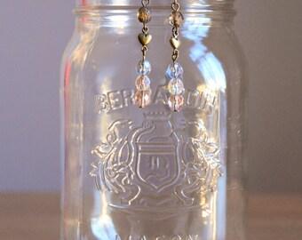 Beads and Heart Earrings