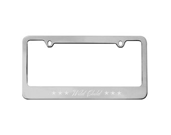personalized car license plate frame metal frame license plate holder chrome silver gifts