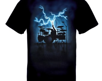 Airbrushed Drum Kit T-shirt Musical Drummer Blue Lightning percussion in all sizes