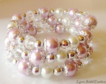 Purple Pearl Bracelet Bridesmaid Gift Jewelry Set Crystal Jewelry Bridesmaid Set Wedding Jewelry Purple Bracelet Purple Jewelry Lavender
