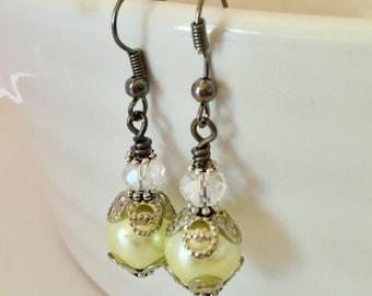 Vintage Pearl Earrings Lemon Earrings Pearl Earrings Lemon Wedding Jewelry Bridesmaid Gift Jewelry Set Vintage Bridesmaid Jewelry
