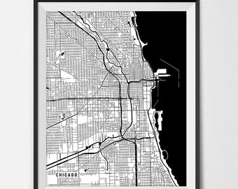 Chicago Map Print, Chicago Poster of Illinois Map of Chicago Print Gift IL Map, University of Chicago Graduation Gift for Grad Gift for Dorm