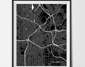 Los Angeles Map Art Print, Los Angeles City Map of Los Angeles Art Poster of California State Map Art LA Art Southern California Art Decor