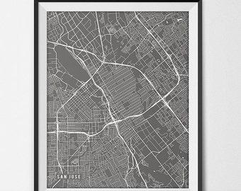 San Jose Map Print, San Jose Poster of California Map of San Jose Print Gift San Jose California Art SJSU University Art Poster Bay Area Art
