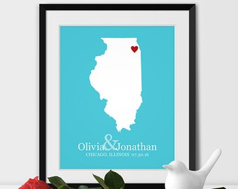 Illinois State Art Map Print, Chicago Wedding Map of Illinois Personalized Couples Gift Wedding Location Chicago Gift - Any STATE