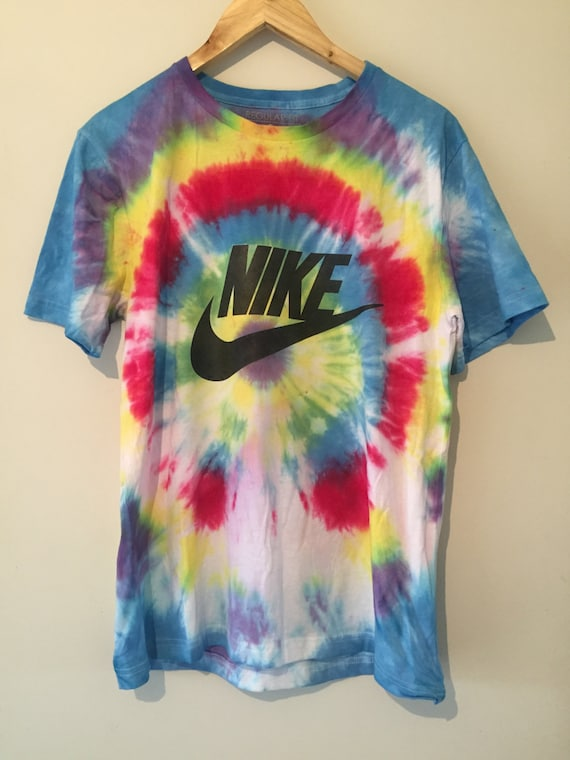 Psychedelic 90s rainbow tie dye nike tick tee t by for Nike tie dye shirt and shorts