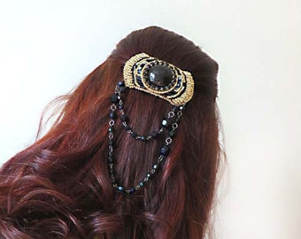 Art Deco hair clip Art nouveau jewelry hair clips Black bead embroidered accessory with chains Gold hair barrette Gothic style hair piece