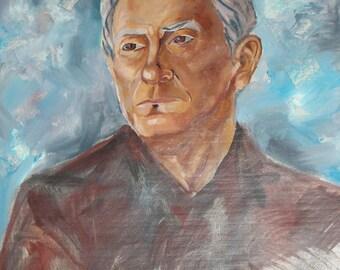 Impressionist oil painting man portrait