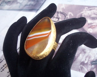 Handmade muticolour agate ring gold plated semiprecious gemstone, jewelry and balance