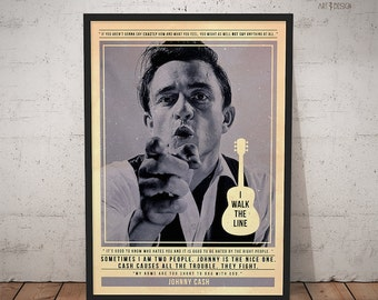 Johnny Cash Poster - Quote Retro Music Poster - Music Print, Wall Art