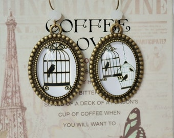 Drop earrings with Cabochon Bird Cage design
