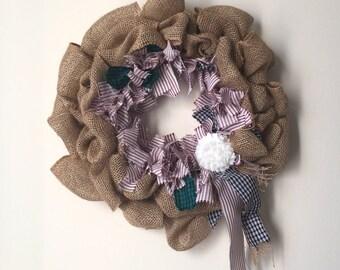 Burlap and Rag Wreath Americana Wreath