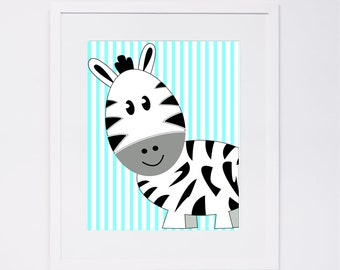 Nursery Decor - Zebra with Blue Striped Background