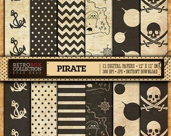 50% OFF Pirate Digital Papers Vintage - 12 Digital sheet pack printable collage sheet instant download - Retro Box Collection