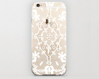 Minimal White Henna iPhone 6 Case Handmade Vintage Styled Design Cell Phone Plastic Case Aztec Pattern Tribal iPhone 6s Case White and Clear