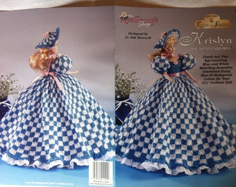 Krislyn of Statesboro Ladies of Fashion, crochet Barbie doll dress pattern, The Needlecraft Shop thread crochet pattern 992547.