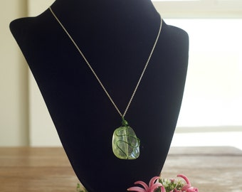 Green Wire Wrapped Pendant