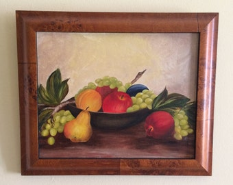 Still life oil with fruit in a burled maple frame