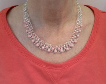 Swarovski Pearl and Silver Crocheted Necklace