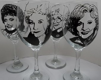 Golden Girls, Hand painted glasses, Painted wine glasses