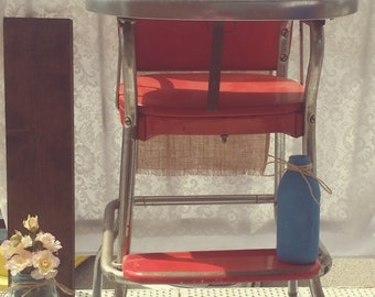 Antique 1950's Cherry Red Costco High Chair