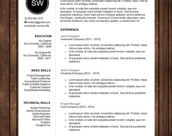 Professional Resume Template with Cover Letter | Curriculum Vitae (CV) Template for Microsoft Word | DIY Printable Word Doc |  The Sarah