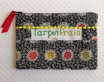 "Sleeve seam and ""Fresh Tarpin"" cross stitch Embroidery handmade"