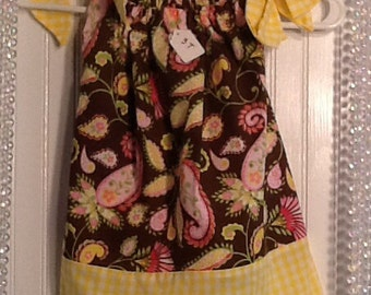 Yellow and brown paisley pillowcase dress 3T